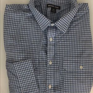 NWOT Michael Kors xxl blue checkered dress shirt